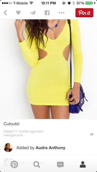 dress yellow dress backless dress nastygal
