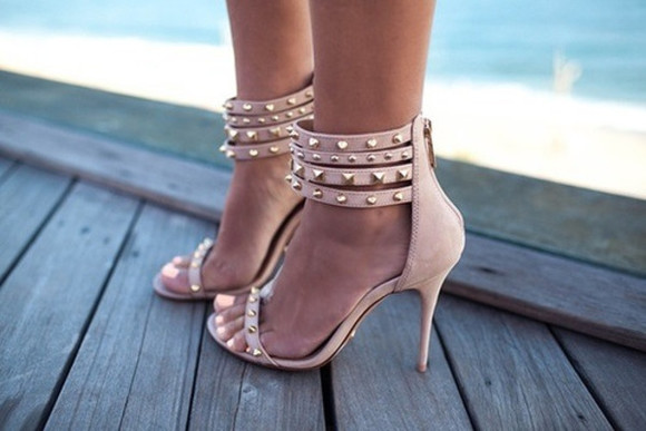 shoes sandals nude sandals nude high heels studded shoes