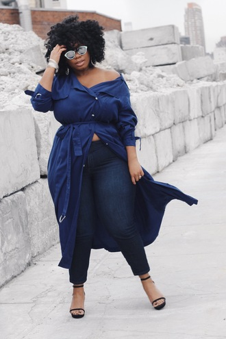 jeans plus size jeans curvy plus size denim blue jeans sandals sandal heels high heel sandals black sandals plus size coat blue coat coat duster coat sunglasses mirrored sunglasses bracelets silver bracelet jewels jewelry silver jewelry