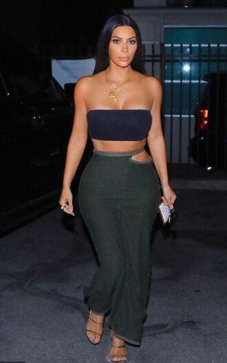 skirt maxi skirt kim kardashian kardashians top bandeau summer outfits summer top