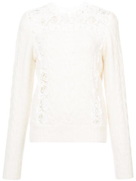 sweater women lace nude wool