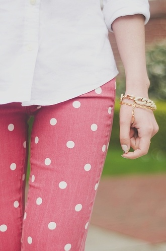 pants clothes polka dots red polka dot jean jeans pink polka dot jeans white