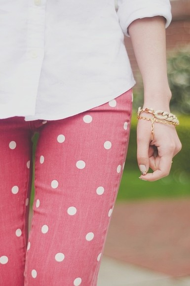 polka dots red pants clothes polka dot jean