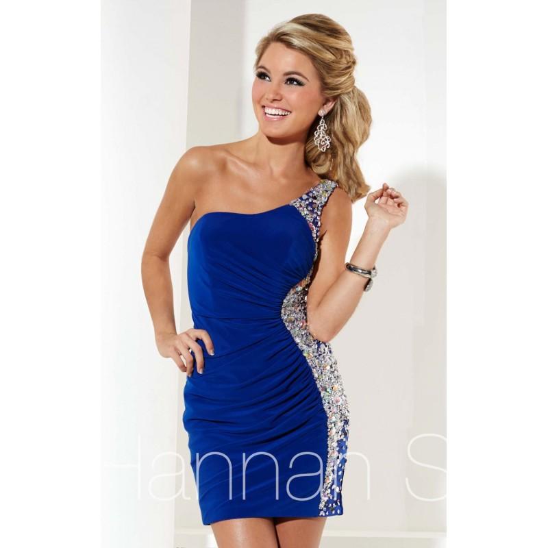 Beaded One Shoulder Cocktail Dress by Hannah S 27896 - Bonny Evening Dresses Online