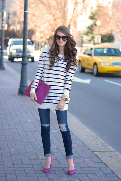 southern curls and pearls blogger jeans jewels shoes bag sunglasses make-up