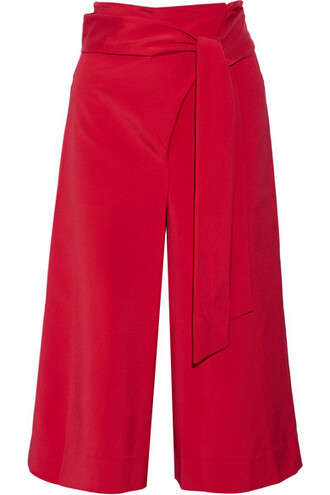 pants wide-leg pants cropped red