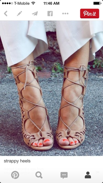 shoes nude lace up heels