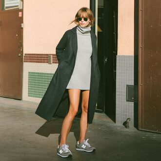 dress turtleneck cowl neck gray mini dress coat