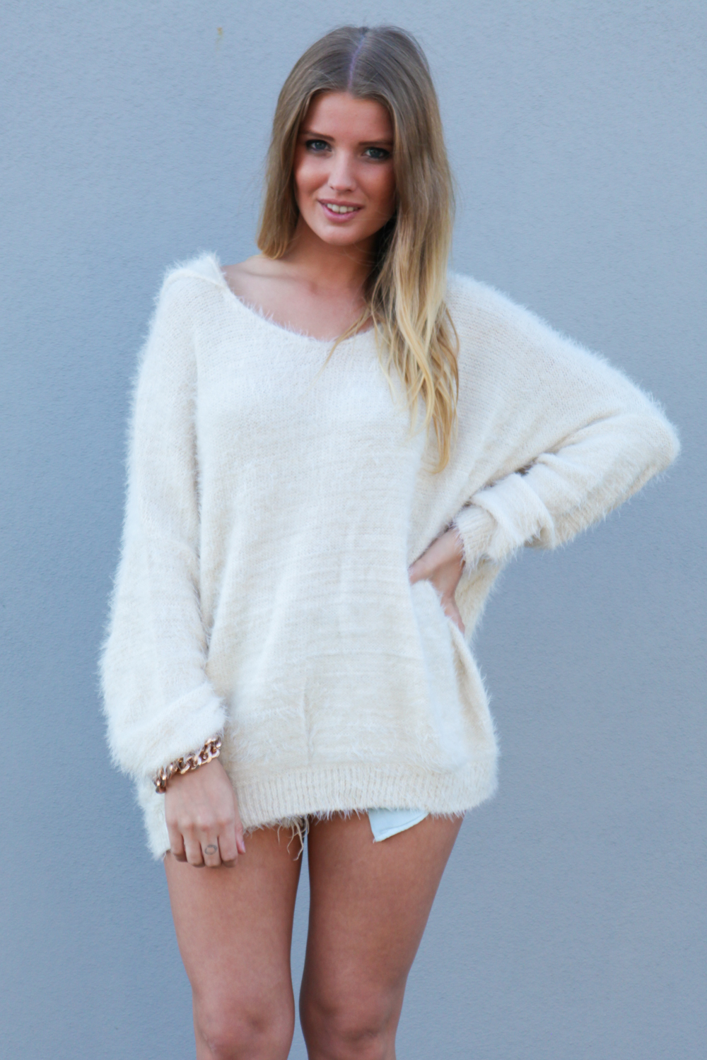 white Sweater - Cream Hooded Oversized Knit Sweater | UsTrendy