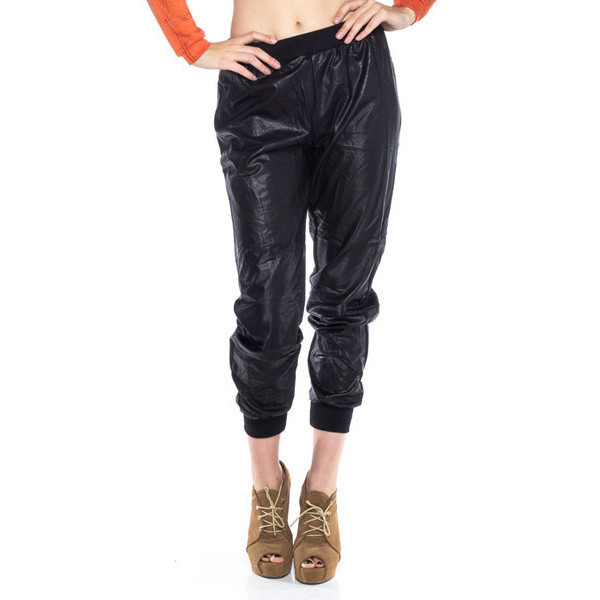 sylvi label leather joggers faux leather leather joggers