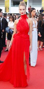 dress,red dress,gown,prom dress,rosie huntington-whiteley,slit dress,long prom dress,cannes