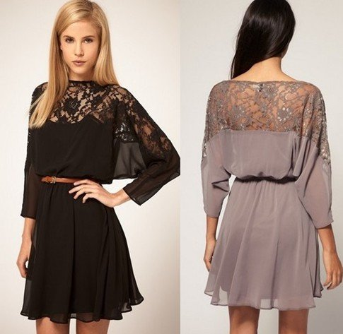 EAST KNITTING FASHIONS BF 024 Women Sexy lace batwing Chiffon Dress with Belt S/M/L Brand dress Plus Size FREE SHIPPING-in Dresses from Apparel & Accessories on Aliexpress.com