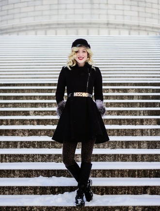 olivia shutey blogger belt moschino fisherman cap black coat