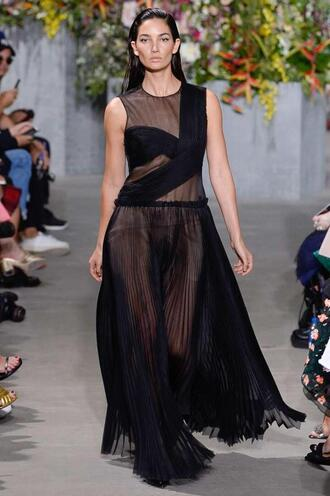 dress gown prom dress black dress lily aldridge model runway nyfw 2017 ny fashion week 2017 jason wu see through