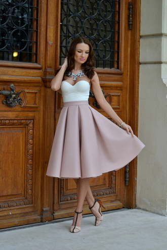 my silk fairytale blogger jewels strapless skater skirt skirt blush pink