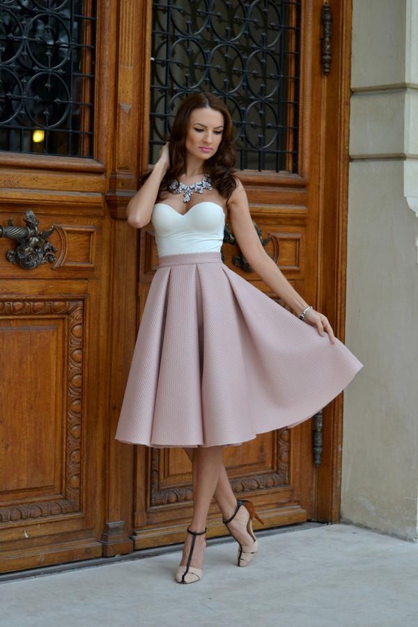 my silk fairytale blogger jewels strapless skater skirt skirt blush pink