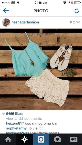 t-shirt blue shorts tank top shirt crop tops top cute summer pastel teal cropped shirt tank top blouse