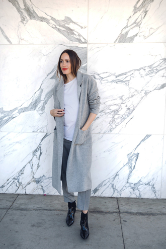 coat tumblr long coat grey long coat grey coat pants cropped pants grey pants boots black boots ankle boots