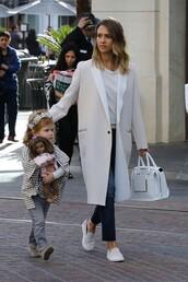 flats,jessica alba,purse,bag,coat,shoes
