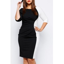 Wholesale Stylish Scoop Neck Half Sleeve Color Block Plus Size Dress ...