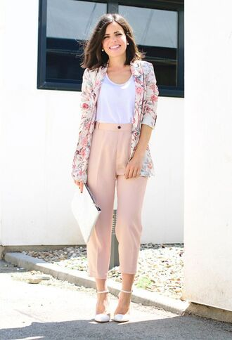pants pink pants pink capri pants top white top jacket floral jacket blazer floral blazer sandals high heel sandals white sandals bag white bag office outfits spring outfits