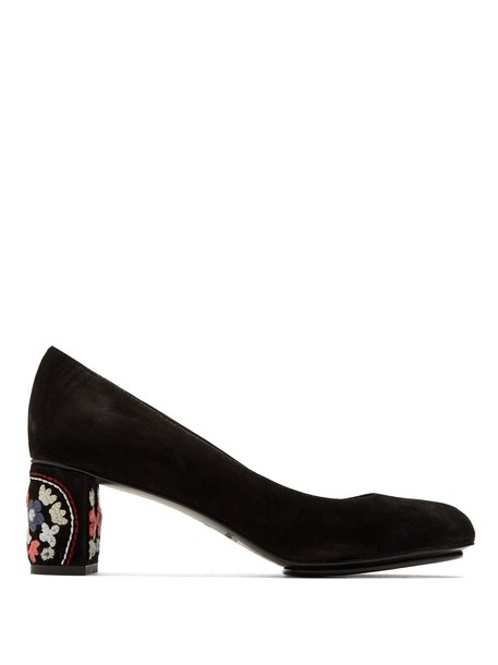 See by Chloe suede pumps embroidered pumps floral suede black shoes