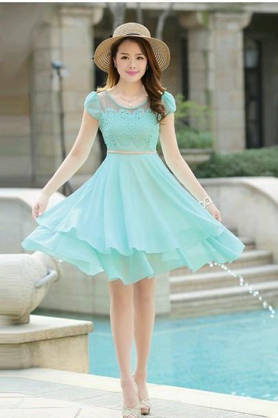 dress blue flowy dress aqua dress cute dress