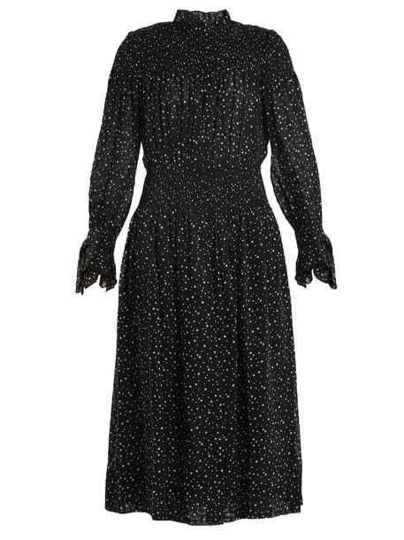 Rebecca Taylor dress cotton print silk black