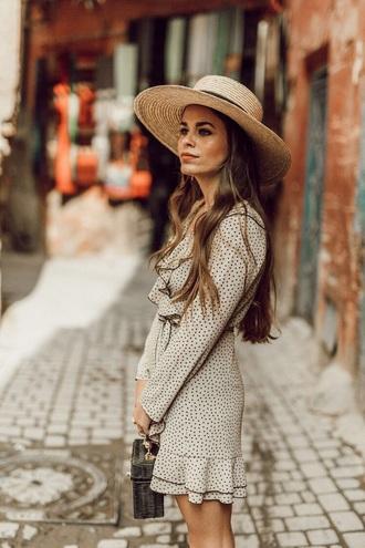 dress mini dress long sleeve dress ruffle hat sun hat straw hat polka dots