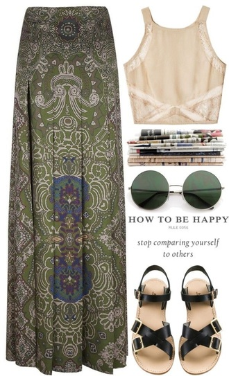 shirt beige shirt skirt maxi skirt boho skirt hippie printed skirt hipster floral skirt green maxi skirt hippie skirt tan crop top crop tops hippie glasses green bracelet brown sandals green boho paisley skirt blouse shorts shoes sunglasses jacket