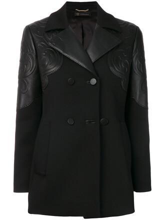 coat double breasted women spandex black wool