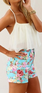 shorts,floral,blue,High waisted shorts,tank top,blouse,shirt,flowered shorts,clothes,girly,top,white,beautiful,lovely,white crop tops,floral high waisted shorts,high waitsted,colorful,ripped,blue shorts,halter top,flowy crop top,crop tops,camisole,pinterest,jewels,where to get floral shorts and white shirt ?,floral high waisted,vibrant floral high waisted shorts,tight,denim,turquoise,short,motif,bleu,rose,rouge,vert,orange,taille haute,tee-shirt blanc,light blue,red roses,pink flowers
