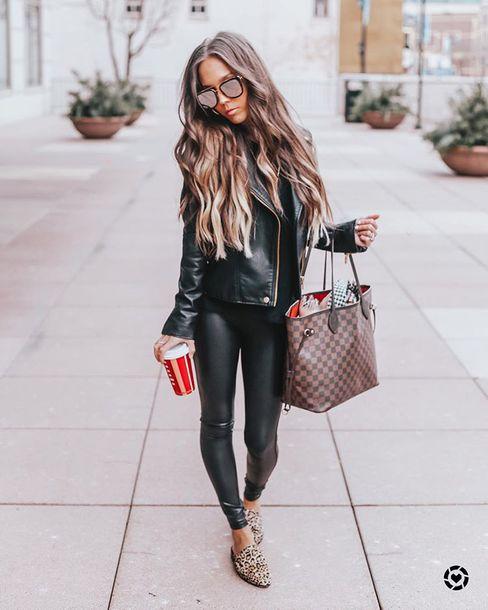 jacket black leather jacket leather leggings brown bag black t-shirt loafers leopard print
