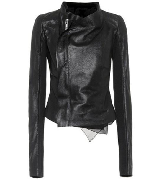 Rick Owens jacket leather jacket leather black