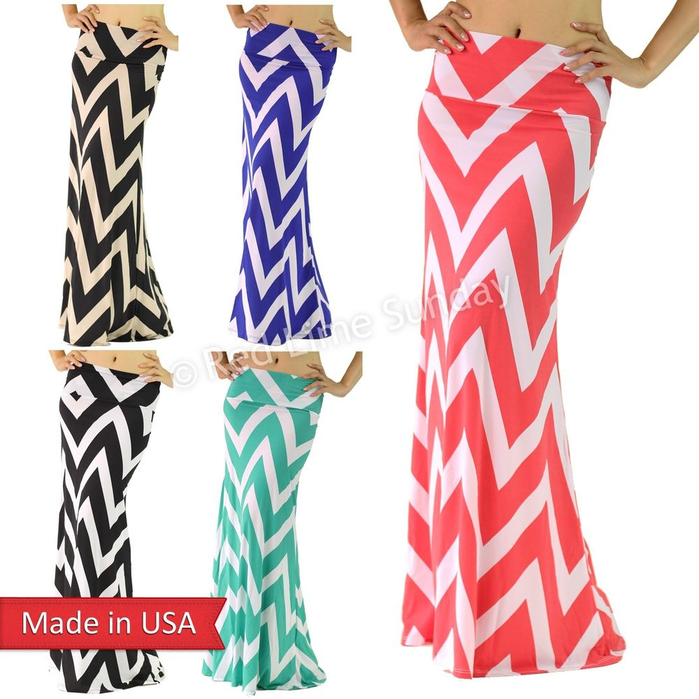 New Chevron Zigzag Print Draped Jersey High FoldOver Waist Maxi Floor Long Skirt