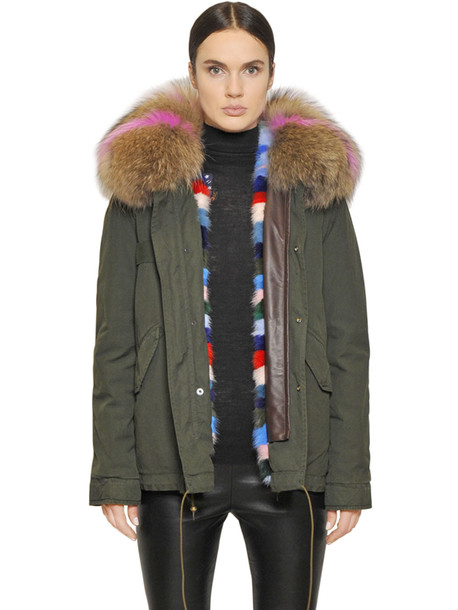 Mr & Mrs Italy parka fur cotton green coat