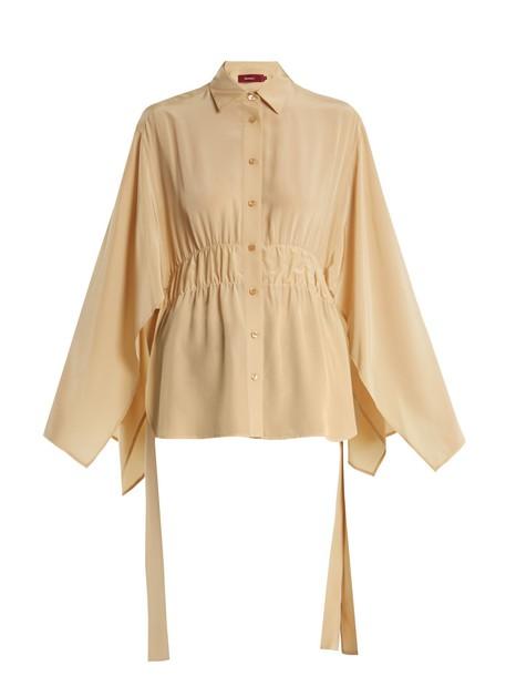 SIES MARJAN blouse slit silk beige top