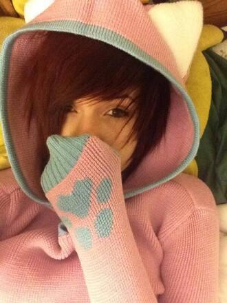 sweater cat sweater cats cat ears ledamonsterbunny leda muir leda pastel pastel pink