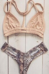 swimwear,bikini,trendy,hot,pattern,snake,pink,beige,fashion