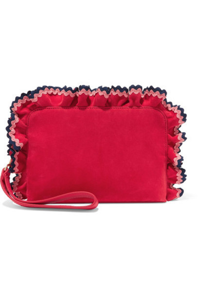 clutch suede red bag