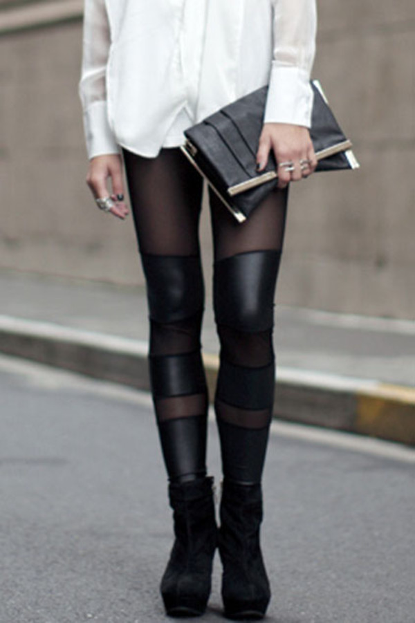leather tights black pants leggings fancy pants jeggings a fashion love affair fashion vibe clutch white cute faux leather bottoms mesh see through