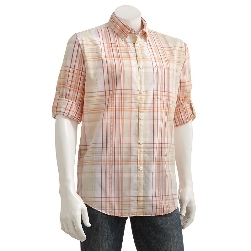 Helix Western Plaid Roll Tab Button Down Shirt Men