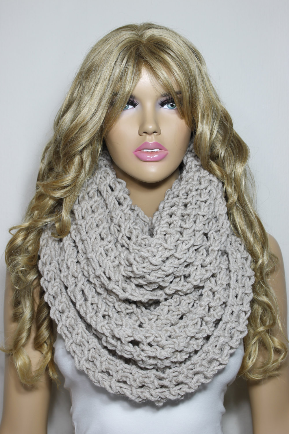 Hand Knit Scarf Taupe Scarf Loop Scarf Infinity Scarf Gift For Her For Him Neck Warmer - ESCHERPE