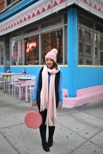 colormecourtney blogger sweater jacket leggings beanie fall outfits pink bag vest boots