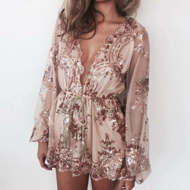 299ac5340fa6 jumpsuit sparkle pink romper nude beaded embellished