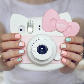 home accessory tumblr camera style girly kawaii pastel pink hello kitty sanrio fijifilm instax mini 8 cute kawaii accessory