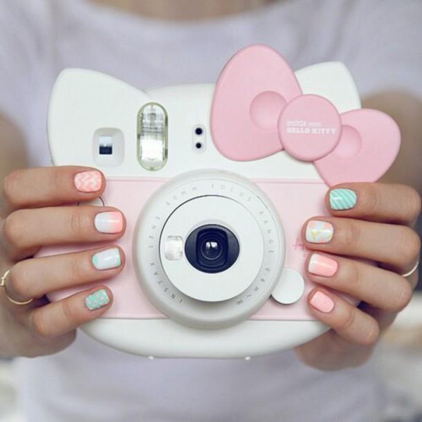 home accessory tumblr camera style girly kawaii pastel pink hello kitty sanrio fijifilm instax mini 8 cute kawaii accessory