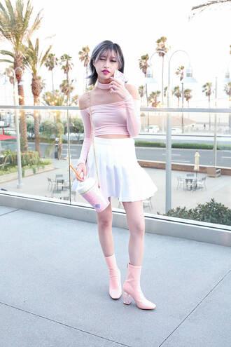 style2bones blogger top skirt bag shoes