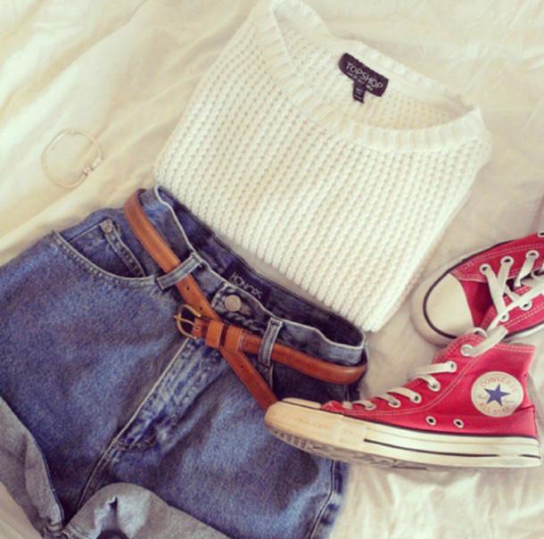 sweater clothes converse topshop shorts