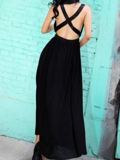 Black sexy maxi chiffon dress with cross detail open back